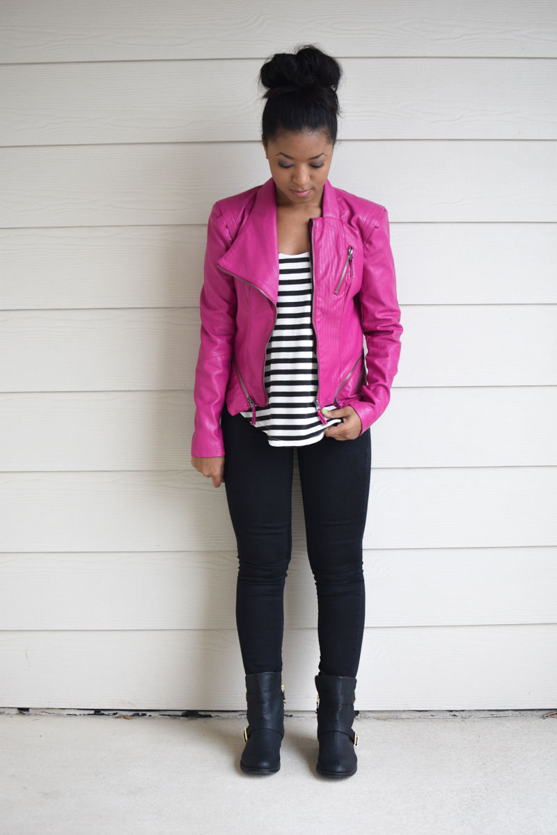 Pink Jacket   Striped Tank | Venti Fashion