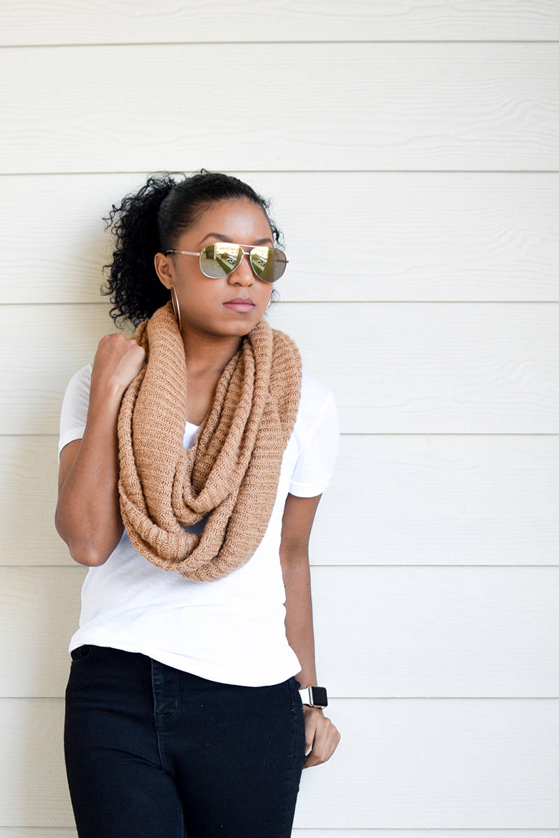 Keeping it Casual with Black Jeans and an Infinity Scarf
