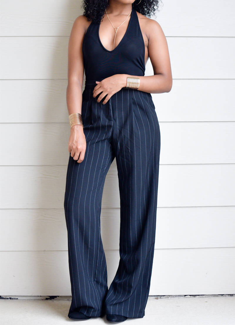 Plunge Bodysuit and Wide Leg Pants-1-5
