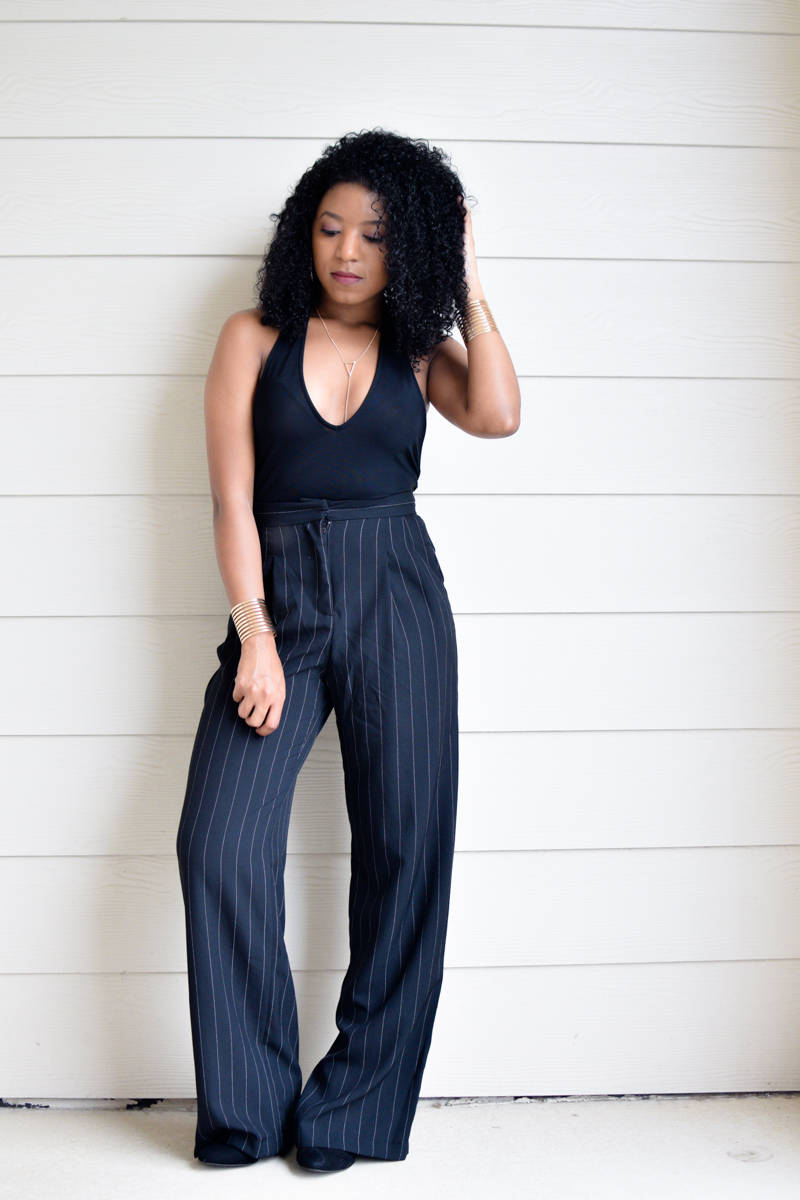 Plunge Bodysuit and Wide Leg Pants-2-3