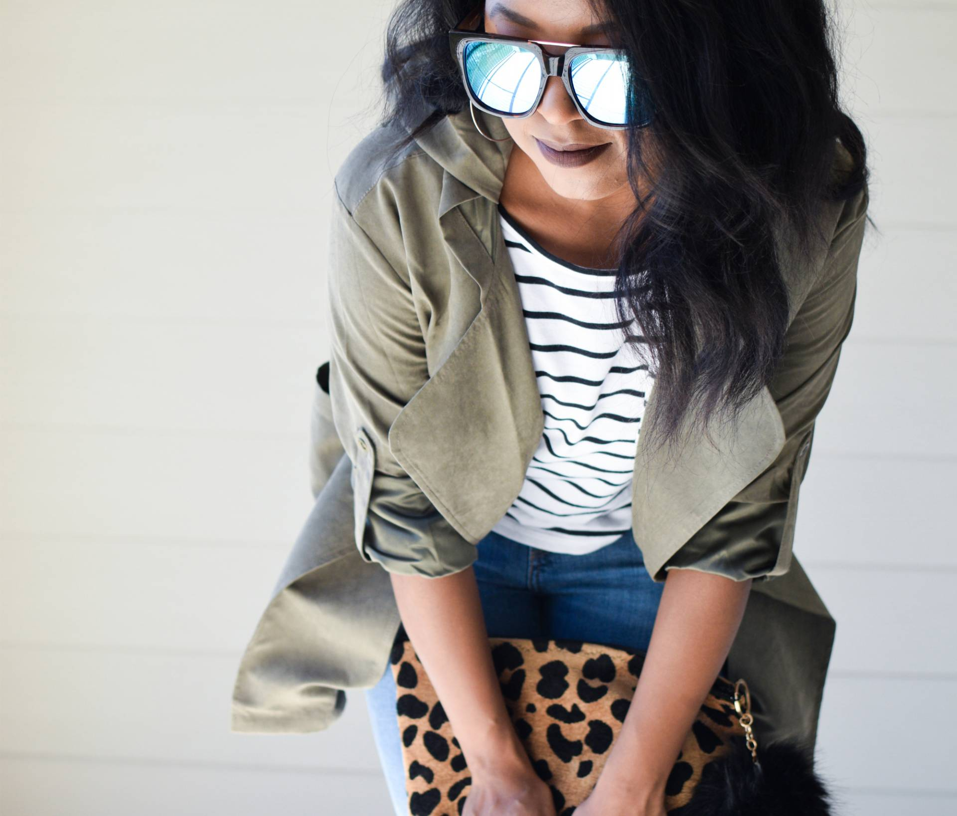 Olive Green Jacket + Striped Tee