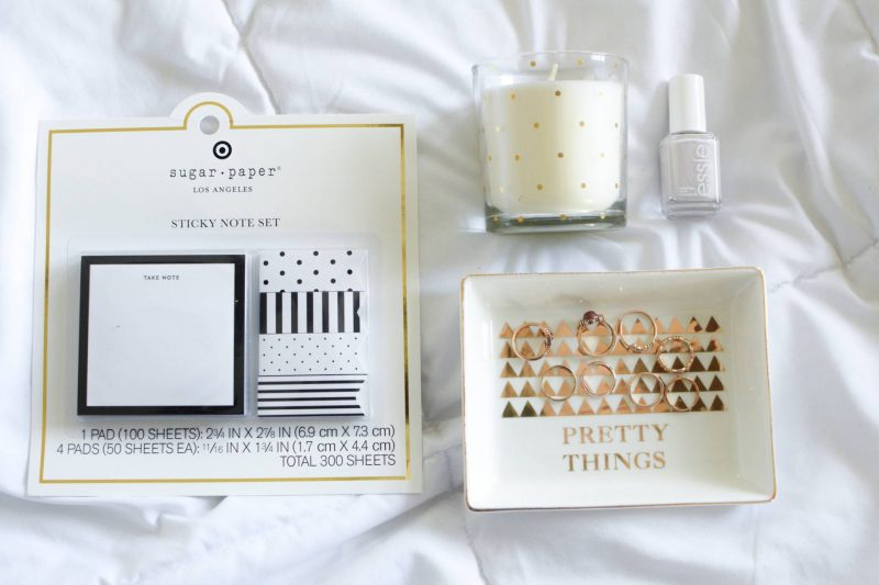 Cute Holiday Gift Ideas - Sugar Paper LA, Jewelry Holder, Kendra Scott Rings, Polka Dot Candle