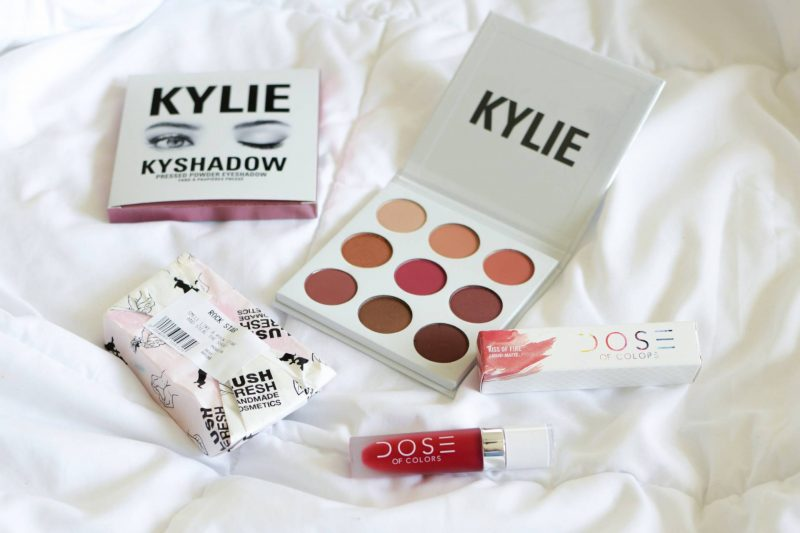 Cute Gift IDeas for the Makeup Lover - Kylie Cosmetics Burgundy Palette, LUSH Rockstar Soap, Dose of Colors Kiss of Fire lip