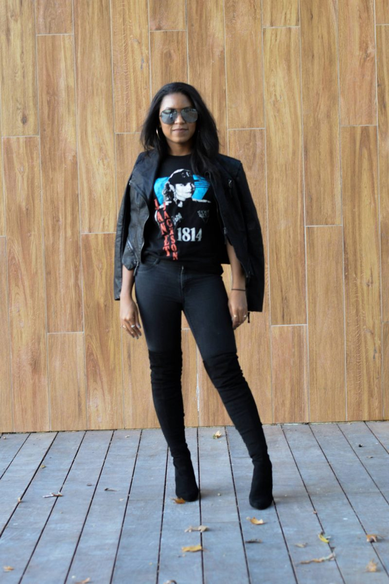 Over the Knee Boots and Leather Jacket Outfit Ideas