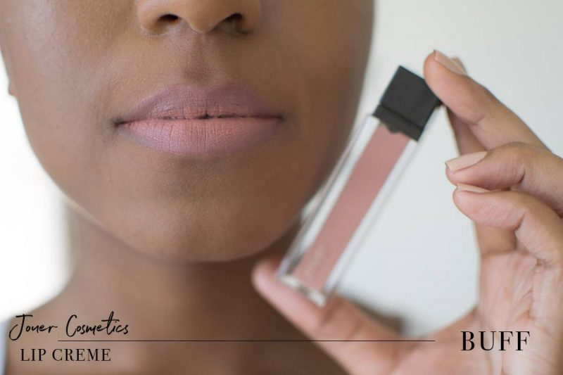 Jouer Lip Creme Buff Swatch on Dark Skin