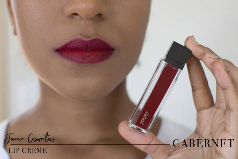 Jouer Lip Creme Cabernet Swatch on Dark Skin