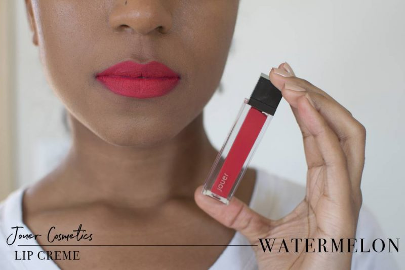 Jouer Lip Creme Watermelon Swatch on Dark Skin