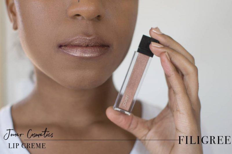 Jouer Metallic Lip Creme Filigree Swatch on Dark Skin