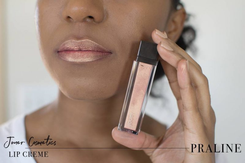 Jouer Metallic Lip Creme Praline Swatch on Dark Skin