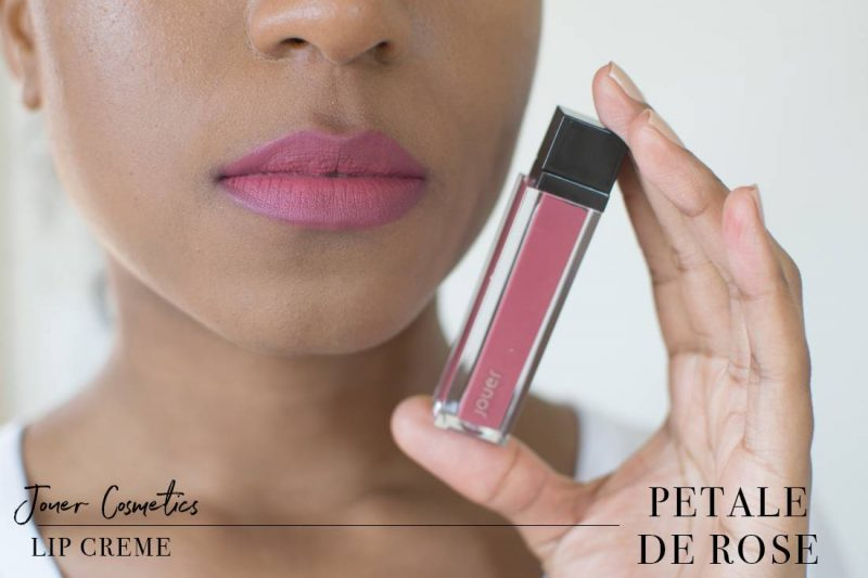Jouer Lip Creme Petale de Rose Swatch on Dark Skin