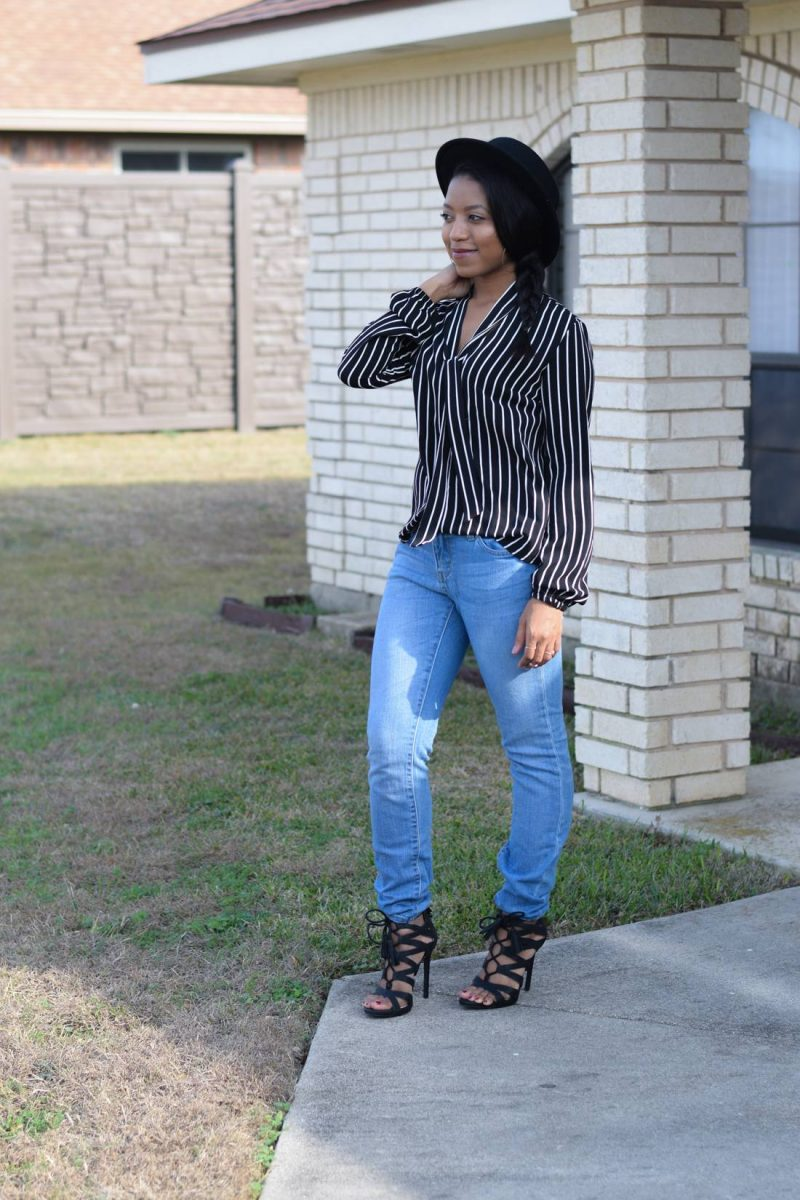 pinstripe blouse and light denim featuring mimi chia and forever 21