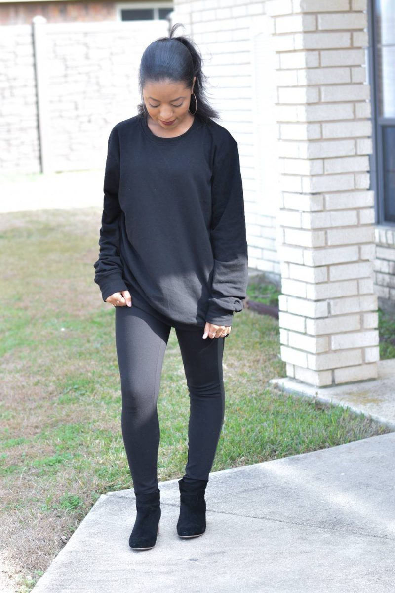 Lazy Day Outfit | How I style a mens sweatshirt | H&M mens sweatshirt | Zara leggings