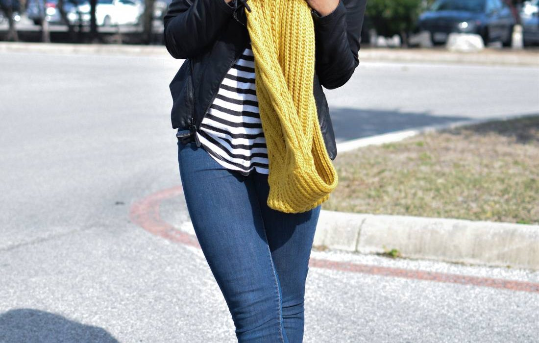 Chunky Knit Scarf + Leather