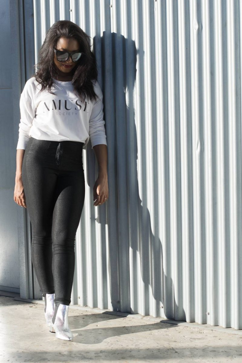 AMUSE Society sweatshirt and topshop silver boots | minimal outfit idea