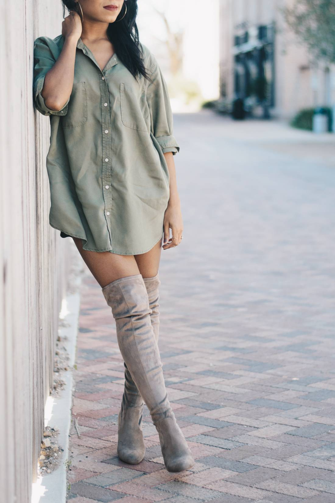 Nude Thigh High Boots And Oversized Shirt 2 2 Venti Fashion