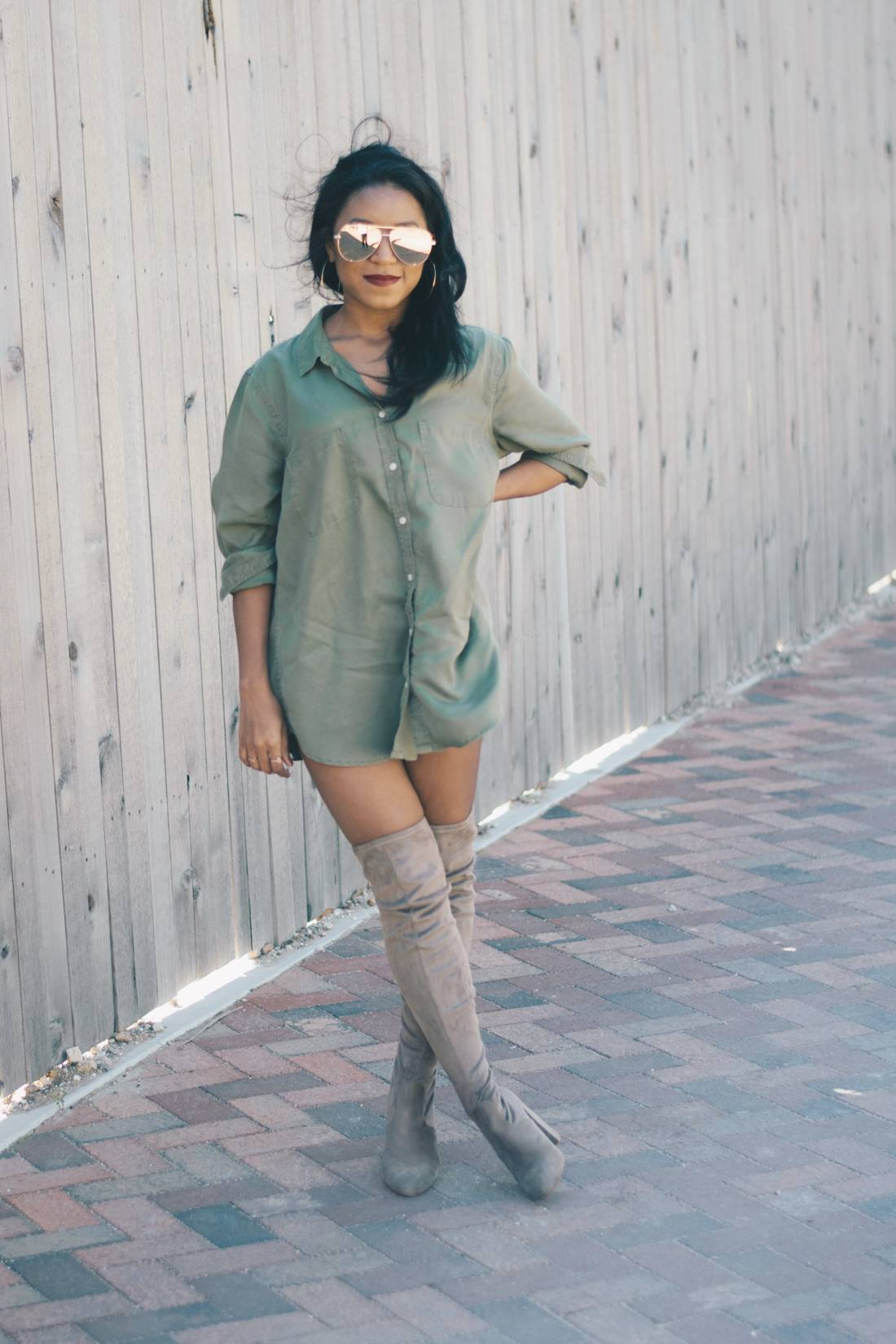 Nude Thigh High Boots And Oversized Shirt 3 Venti Fashion
