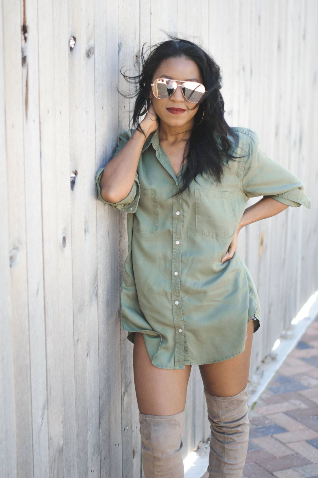 Nude Thigh High Boots And Oversized Shirt 4 Venti Fashion