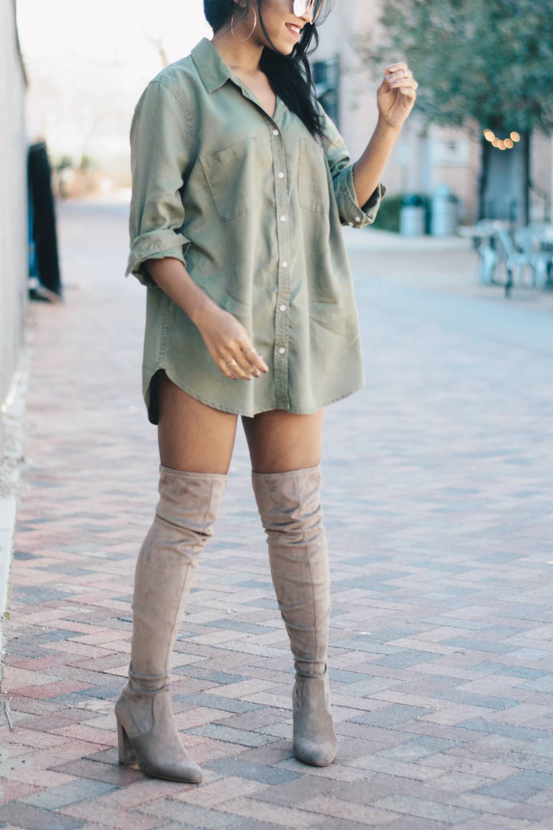 Nude Thigh High Boots And Oversized Shirt 8 Venti Fashion