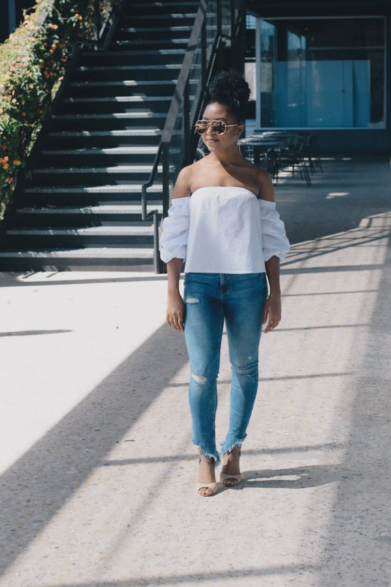 Frayed Denim and Off the Shoulder Top Spring Fashion Trend