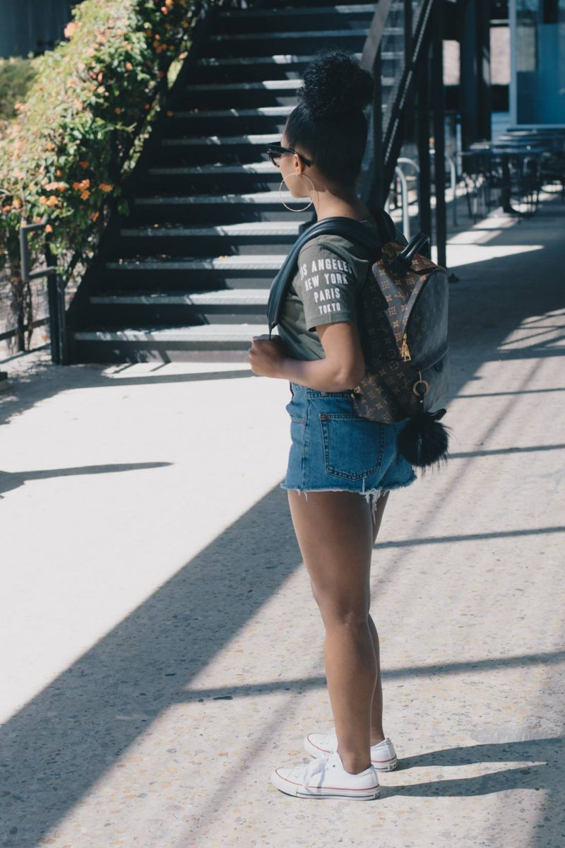 Graphic Sleeve and High Waisted Cutoffs