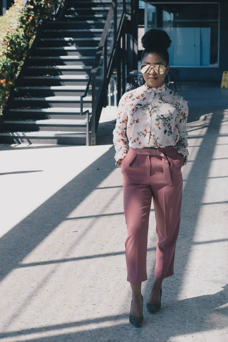 Spring Office Style with Floral Print and Blush-1