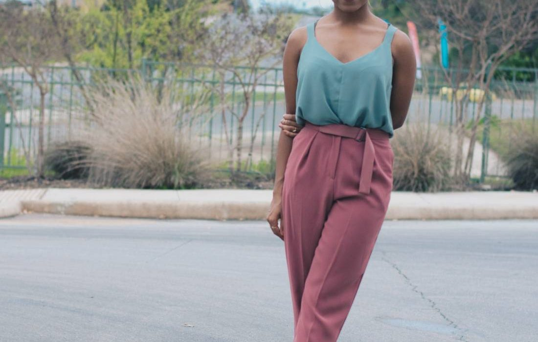 Sleeveless Blouse + Peg Trousers