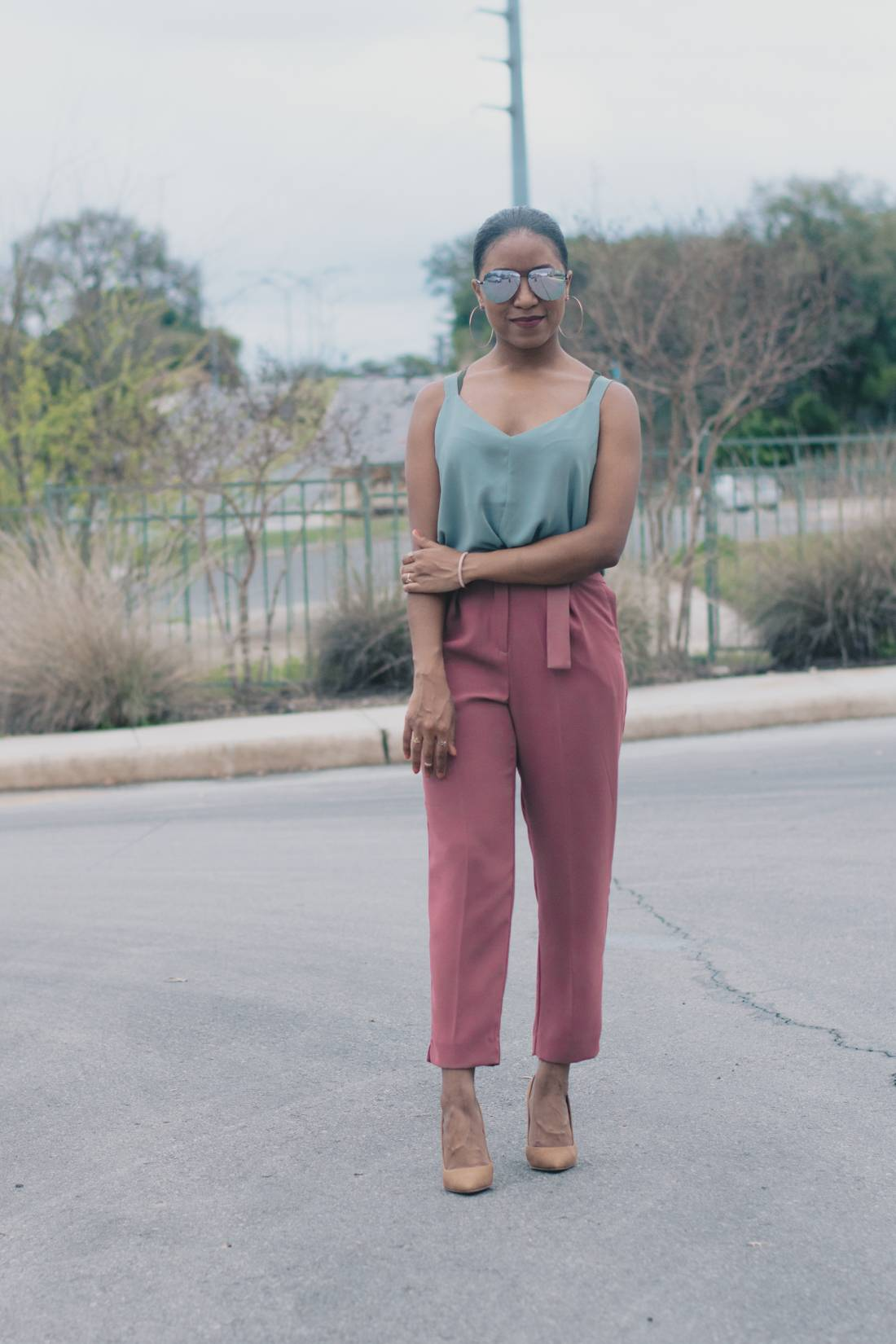 Styling Pink Trousers and Mint Tank-1