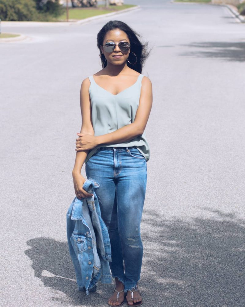 Sleeveless Blouse and Frayed Denim-1