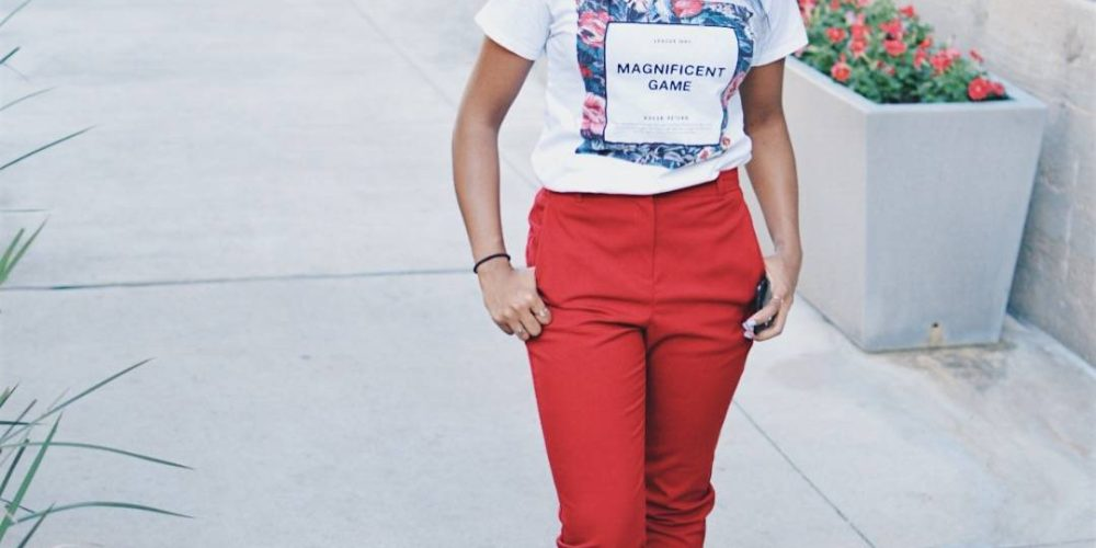 Floral Graphic Tee + Cropped Trousers