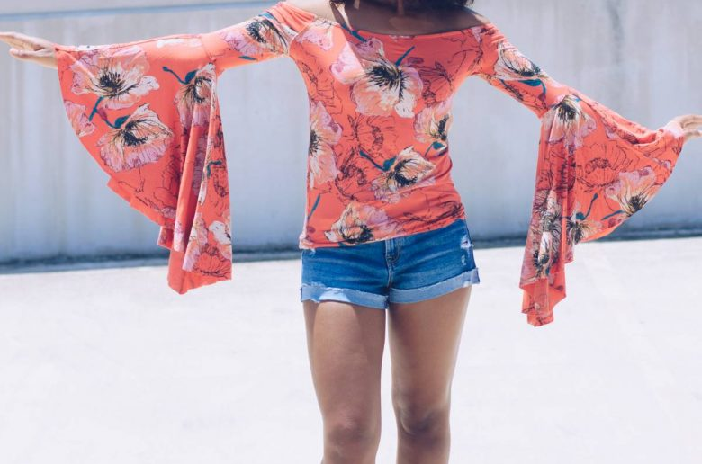 Flute Sleeve Top Free People Outfit-11