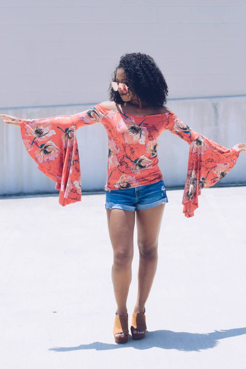 Floral and Flute Sleeve Top