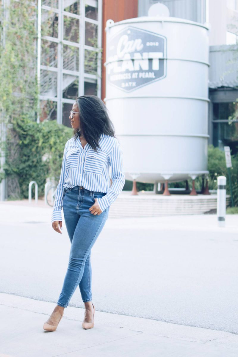 H&M Striped Blouse Denim Office Look-1