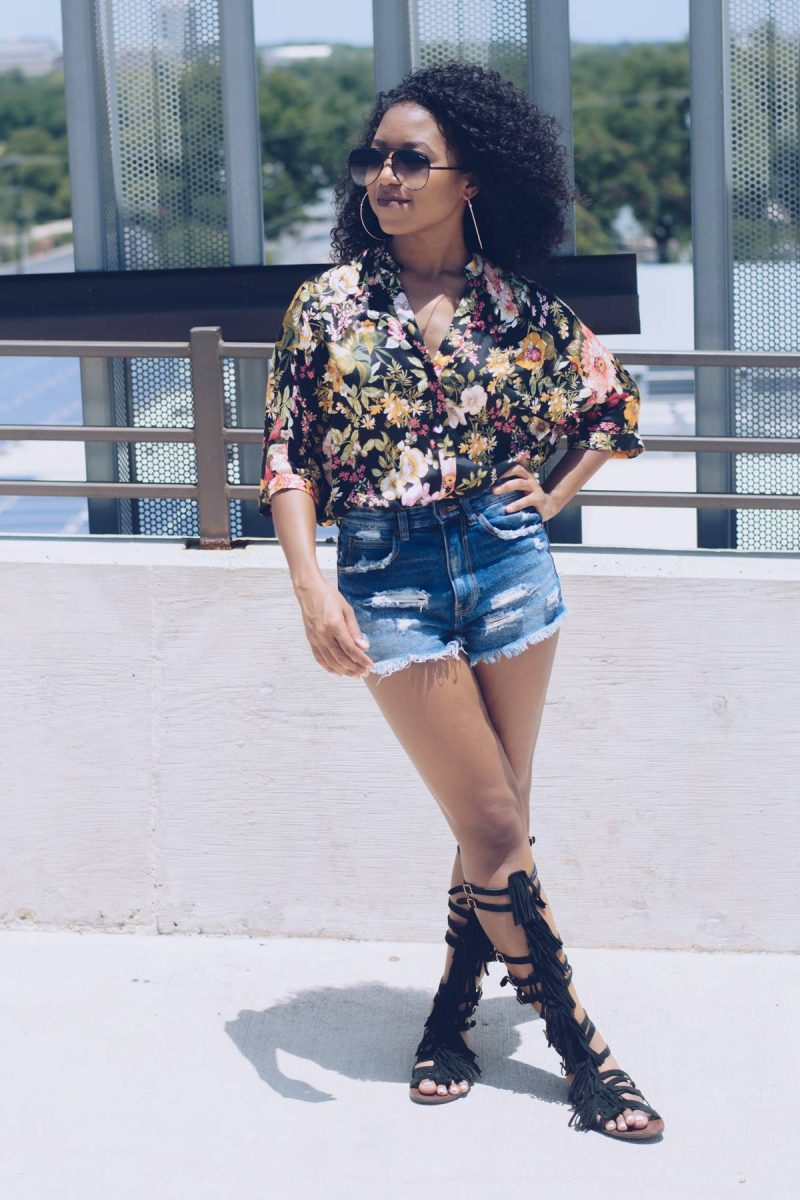 Zara black floral top with shorts