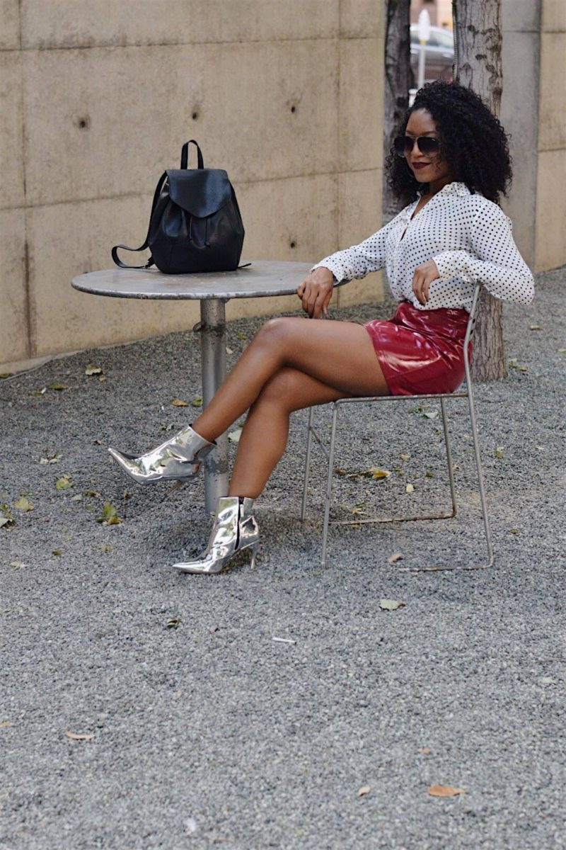 What I Wore to StyleCon | Metallic Boots and Patent Leather Skirt