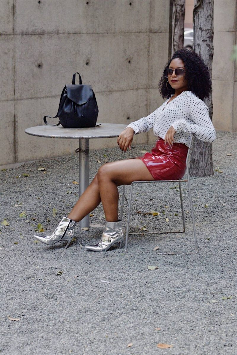 Topshop Metallic Boots and Patent Leather Skirt