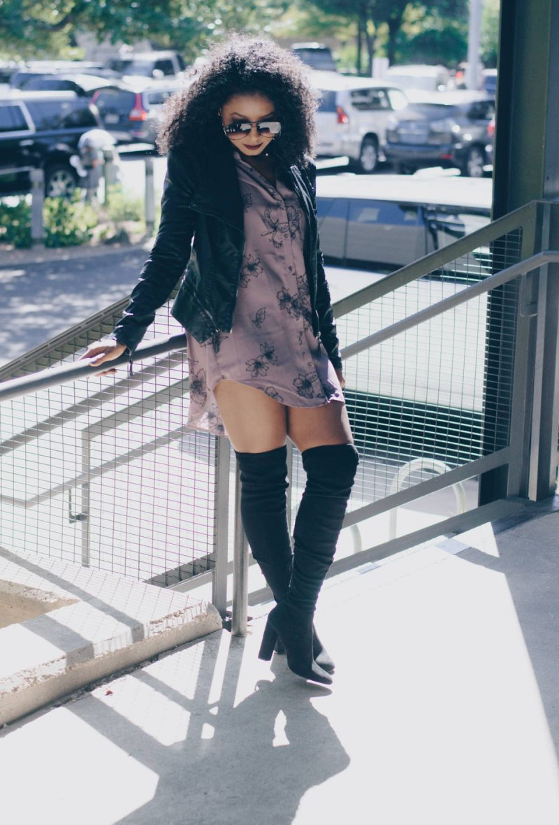 Shirtdress & Thigh High Boots