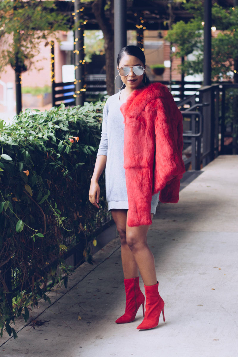 746806cfde5 red coat outfit ideas Pin this image on Pinterest. sweatshirt dress ...