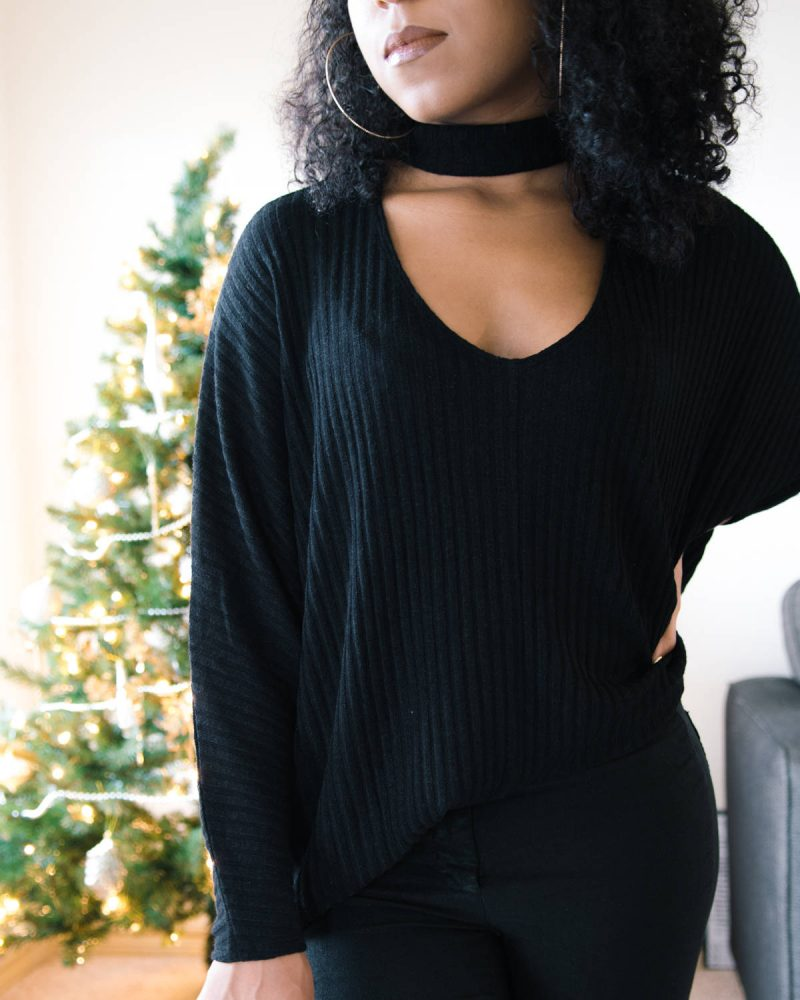 cozy black sweater outfit