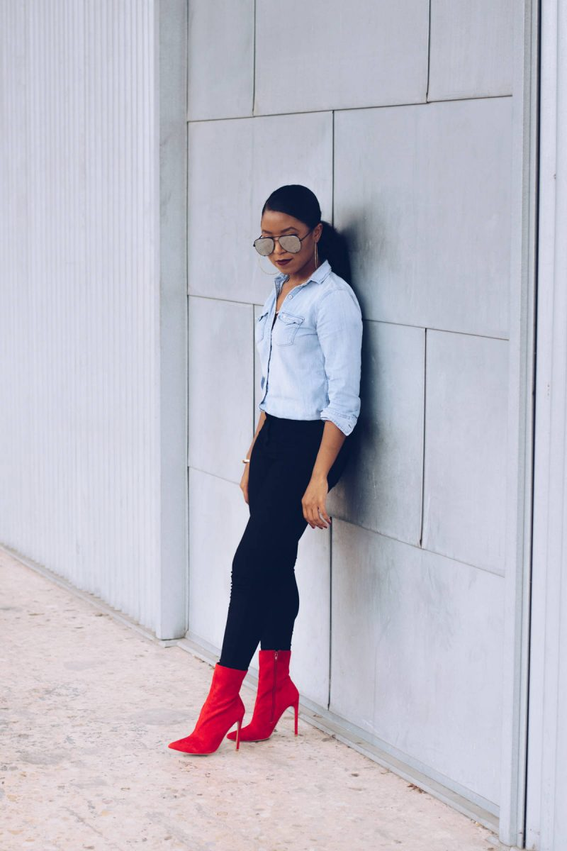 steve madden red boots outfit