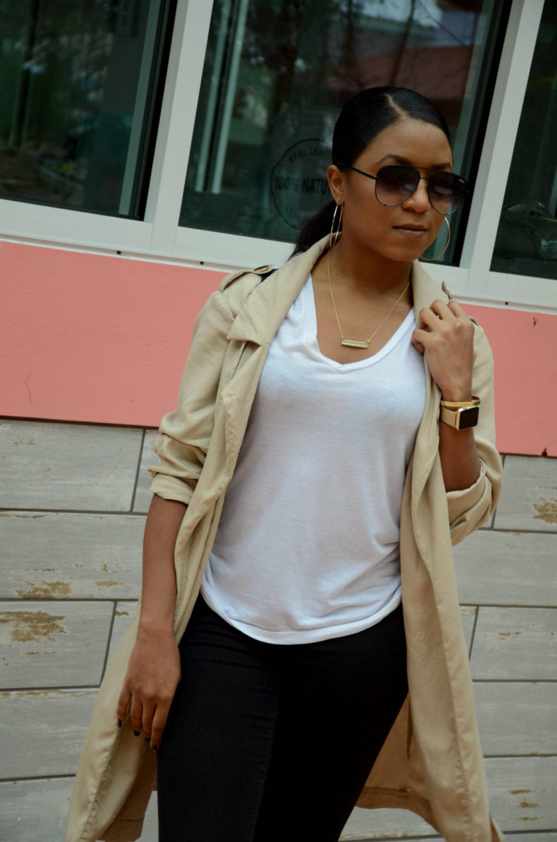styling a trench coat and white tee outfit