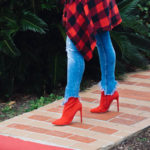 red flannel and red boots outfit