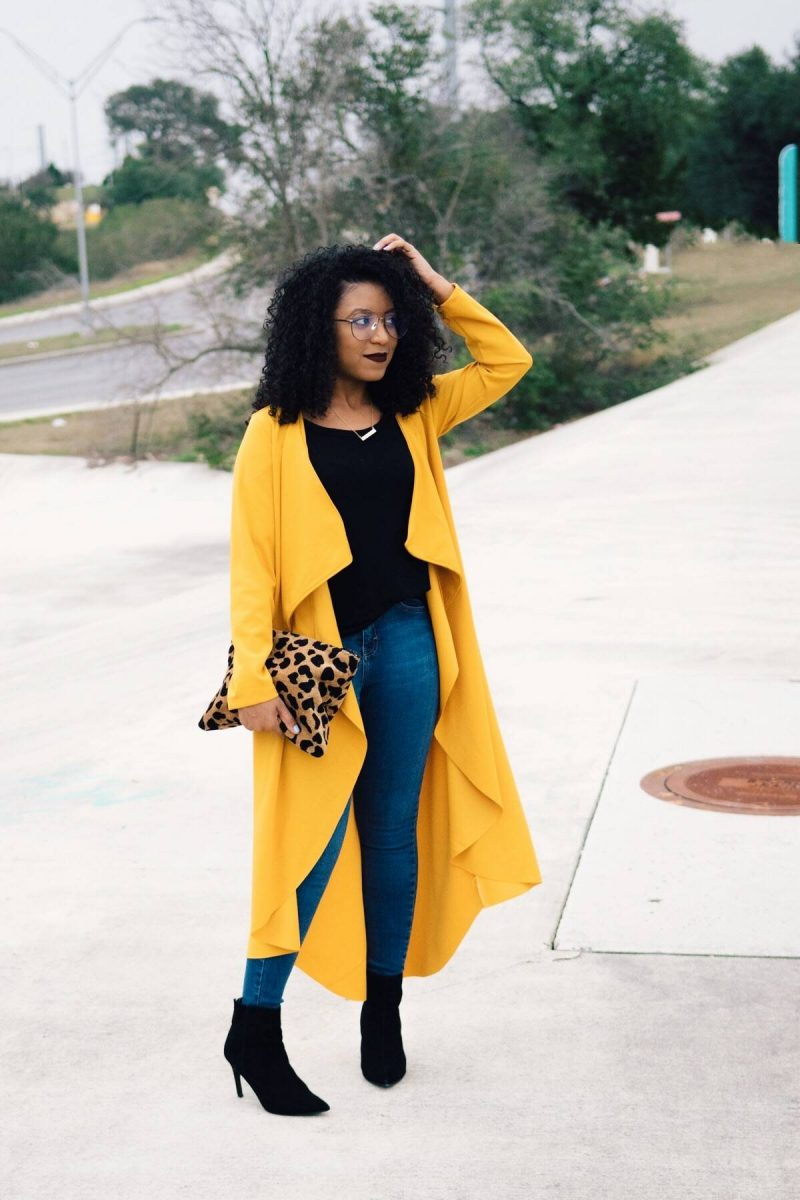 style yellow duster coat