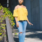 top knot and off the shoulder spring look