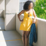 yellow lace-up dress