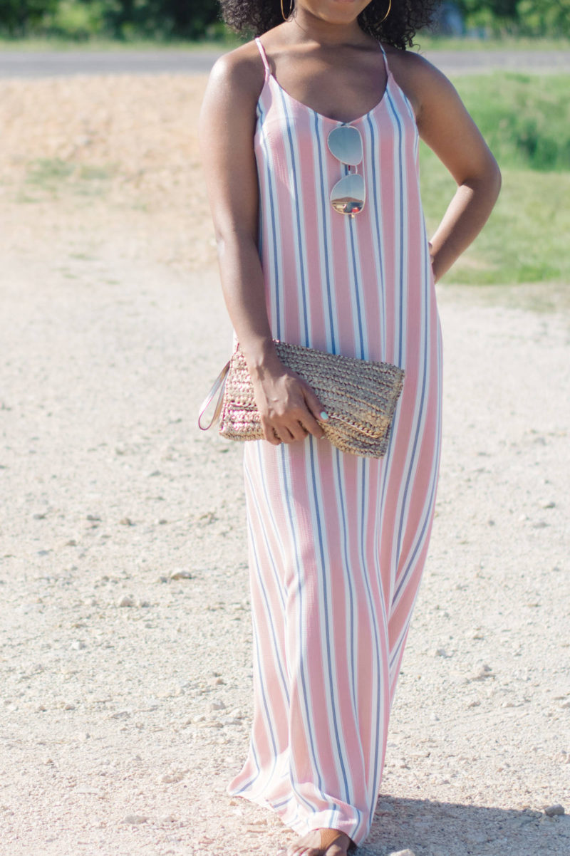 striped maxi dress outfit ideas