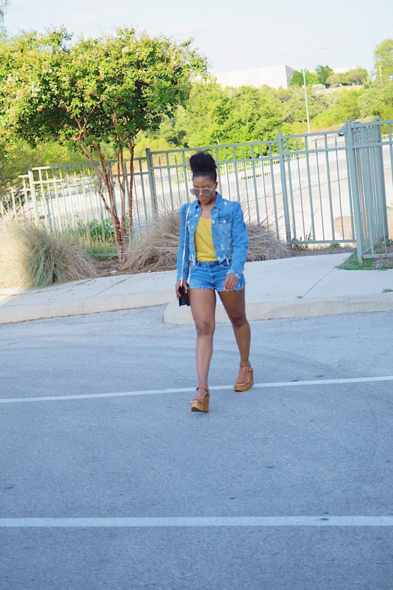 double denim and summer wedges