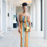 colorful stripes strapless jumpsuit