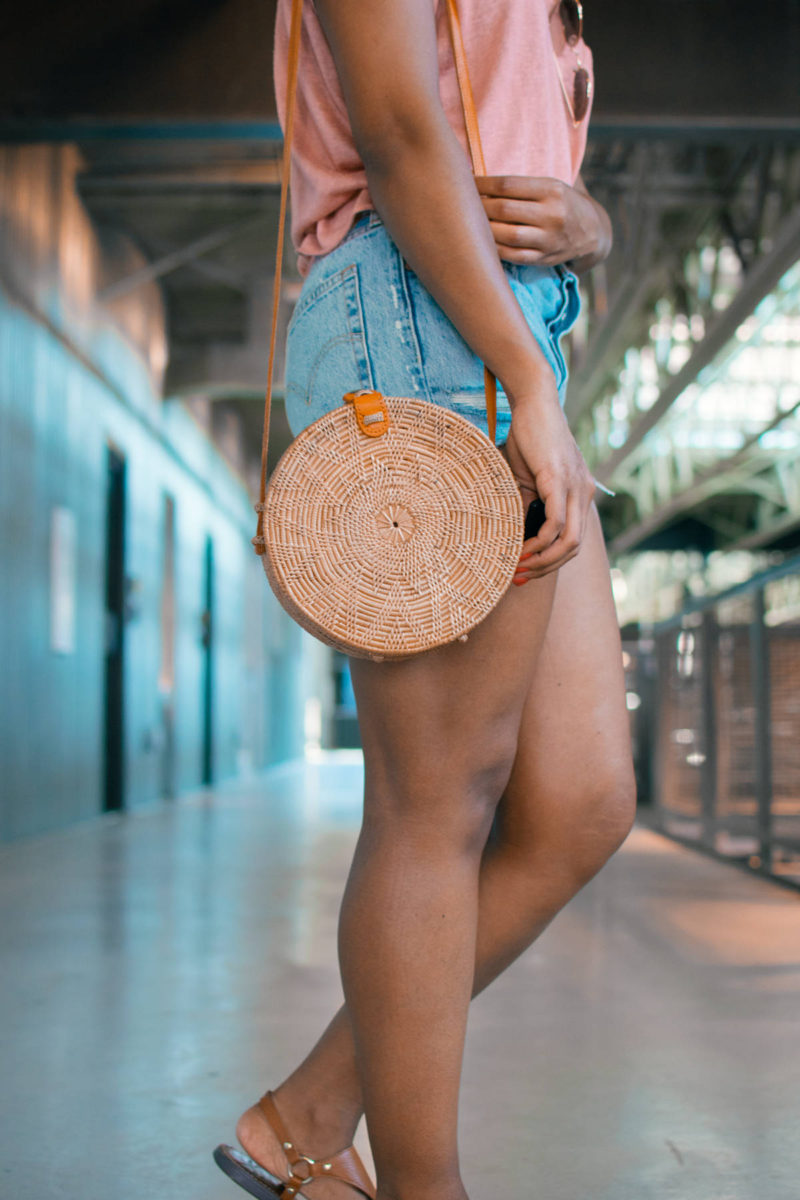 street level straw crossbody bag
