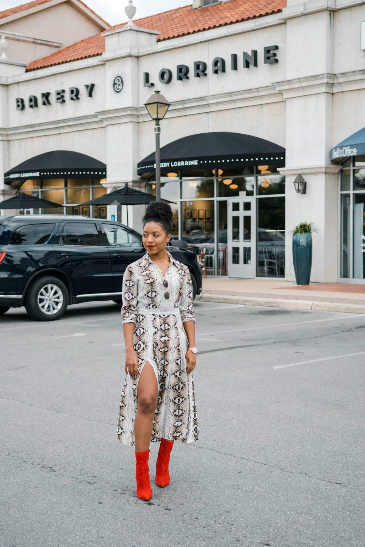 topshop snakeprint dress with boots outfit