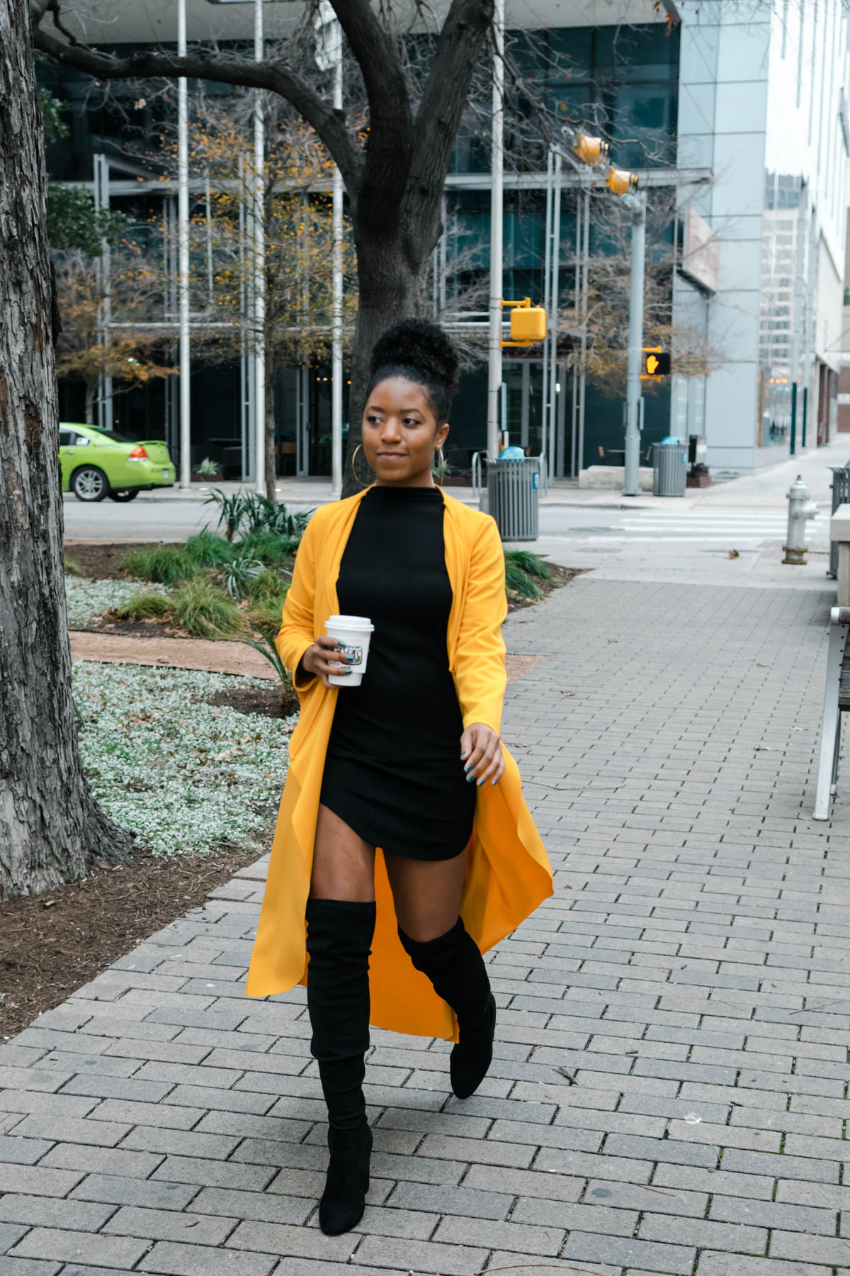 how to style thigh high boots with dresses